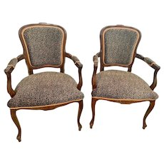 Vintage Pair French Louis XV Style Armchair Beautiful Leopard Print Upholstery