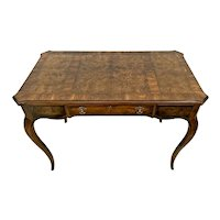 Vintage Drexel French Writing Desk Vanity Center Drawer Burl Walnut Banded Top