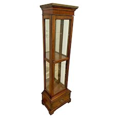 Vintage Lane China Cabinet Small Curio Lighted Mirror two shelves Bottom Drawer