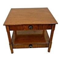 Henredon Table with Drawers top and bottom Shelf two tier walnut Circa 70