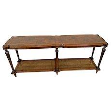 Vintage Ethan Allen Sofa Table Console Walnut Burl Cane Bottom Shelf Italian