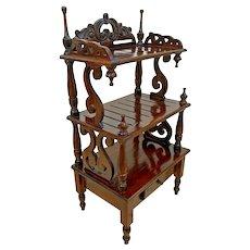 Antique Victorian Etagere Hutch Bookshelf Display Carved Mahogany Petite Drawer