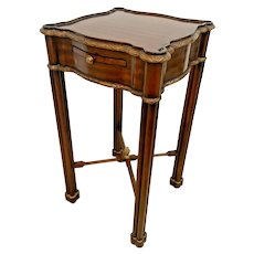 Maitland Smith Lamp Table with pull out note pad Regency Style Mahogany