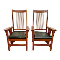 Stickley Arm Chairs Mission Prairie Collection Cherry Spindle Black Leather Seat