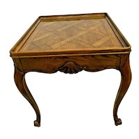 Baker Furniture Square Table with drawer Drawer Solid French carved Oak Inlays