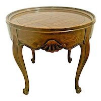 Baker Furniture Round Table with drawer Solid French carved Oak Parquet Inlays