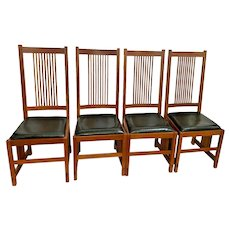 Stickley Side Chairs Mission Prairie Collection Cherry Spindle Black Leather