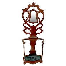 Art Nouveaux Hall Tree umbrella Stand large cast iron drip basin Hat Rack Mirror