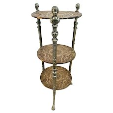 Metal and cast iron Plant Stand Jardiniere three tier small round table Angels