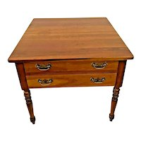 Stickley Side Table Nightstand American Colonial Solid Cherry Wood Two Drawers