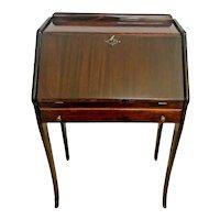 Vintage Mahogany Desk Secretary with Locking Door and Bottom Drawer