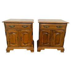 Vintage Pair Nightstands Side Tables Matching cabinets with drawer solid maple