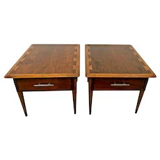 Mid Century Lane Side Tables Walnut Nightstands single drawer matching pair