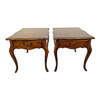 Ethan Allen Side Tables Walnut Nightstands single drawer matching pair Vintage