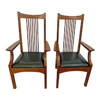 Stickley Arm Chairs Metropolitan Collection Cherry Spindle Black Leather Seat