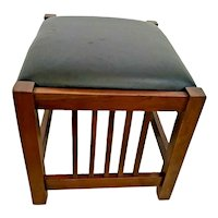 Mission Arts and Crafts Prairie Spindle Ottoman Stool Solid Cherry Black Leather