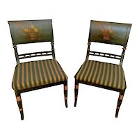 Neo Classic Side Chairs set of two Gold Black Fabric floral accents reproduction