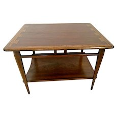 Mid Century Modern Lane Side Table Dark Walnut Nightstand with bottom shelf