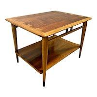 Mid Century Modern Lane Side Table Walnut Nightstand with bottom shelf