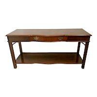 Vintage Bassett Sofa Console Table Drawer Bottom shelf Chinese Chippendale