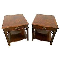 Bassett Furniture Side Tables Nightstands Walnut Inlays Top Drawer bottom shelf