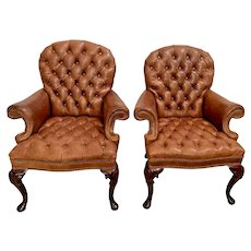 Vintage Leather Arm Chairs Tufted seat and back rolled arms Brass Tack Mahogany