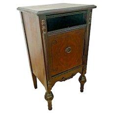 Antique BLUE Bird Furniture Mfg. Co. Vanity Cabinet Italian Style Burl Mahogany
