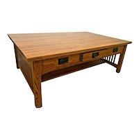 Arts and Crafts Mission Style Solid Oak Coffee Table with Six Drawers made from Cedar with sold oak fronts.