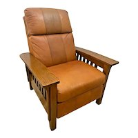 Vintage Lane Furniture Leather Recliner Arts and Crafts Mission style Oak