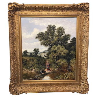 William Mordale, Victorian English landscape with woman crossing a small bridge