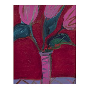 Still Life Painting of Tulips, late 20th Century by Denver Artist, Patti Cramer