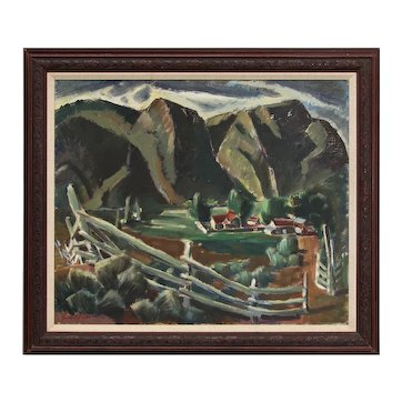 Big Rock Ranch by Frank Vavra, 1930s-1940s, Modernist Western Mountain Landscape Painting