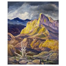 The Mighty Rockies by Alfred Wands, Vintage Modernist Western Landscape Painting