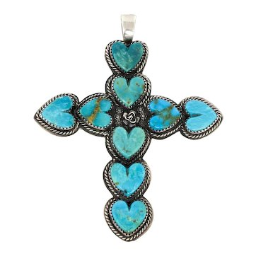 Vintage Navajo Pendant by La Rose Ganadonegro Turquoise Hearts with Silver, Cross Design