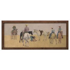 Mounted Cowboys, Vintage 1963 Large Original Oil Painting by Wolfgang Pogzeba, New Mexico