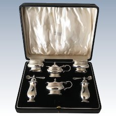 English Sterling Silver Salt, Pepper and Mustard Set by F.C. Richards