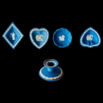 Vintage Wedgwood Blue Jasperware, Set of 5  Pieces