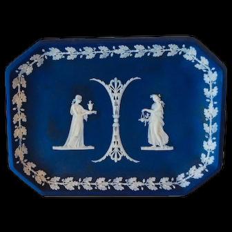 Antique Wedgwood Jasperware Dark Cobalt Blue Neoclassical Platter