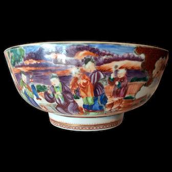 Antique Chinese Export Porcelain Mandarin Palette Punch Bowl