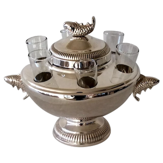 Silver Plated Caviar And Vodka Server with Glasses