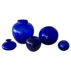 Set of Five Cobalt Glass Vases