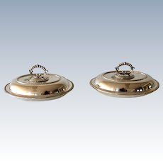 Pair of 19th Century Sheffield Silver Plated Covered Serving Dishes