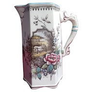 'Dairy Farm' Pitcher - Seahorse Handle - by Burgess & Leigh, Staffordshire 1867-1889 - Aesthetic Transferware