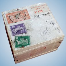 Miniature Paris Store Box with Stamps - 1928 - Doll Accessory