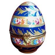 Large Limoges Porcelain Egg - Hand-Painted Vintage Box Signed 'G. Ribierre'