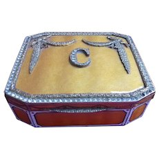 Initialled Guilloche Enamelled Snuff Box - French Early 20th Century