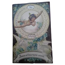 French Cherub Perpetual Calendar Postcard -  Doves and Forget-Me-Nots