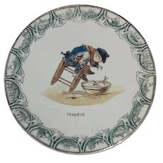 French Polychrome Transferware Plate - 'Little Sailor' K&G Luneville - Boy with Toy Boat