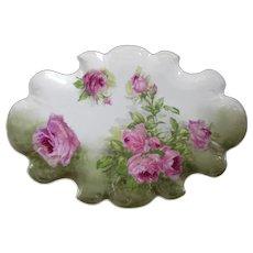 "13"" wide 1890s Limoges Cabinet Plate - Pink Roses by Lanternier et Cie"
