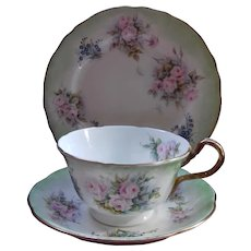Aynsley signed hand-painted trio circa 1930 - Louise Allingham - pink roses, forget-me-nots and dragonflies